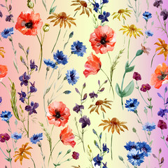 watercolor pattern of wildflowers on a pink gradient background