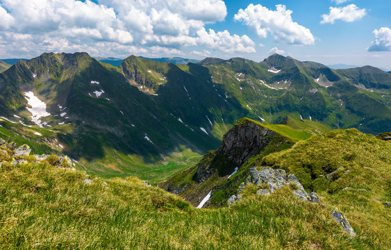 mountain ridge observed from the opposite cliff. gorgeous summer landscape in Fagarasan mountains of Romania