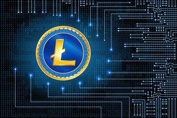 Virtual symbol of the coin litecoin on binary code background and electronic circuit