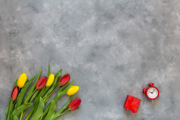 Background for Birthday, Woman Day, or Mothers Day. Fresh tulips, spring flowers. Copy space.