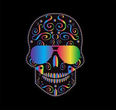Skull icon gradient with sunglasses rainbow color