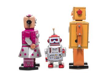 Keuken foto achterwand Hoogte schaal tin toy robot family