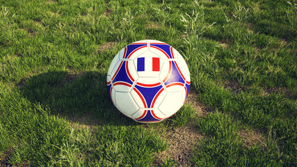 Football with the French Flag and National colors 3d illustration