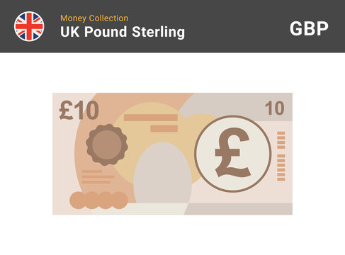 10 Pound sterling banknote. British money. Currency. Vector illustration.