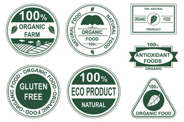 Organic food labels, stamps, stickers vector icons set. Healthy natural products logos and emblems isolated on white background.
