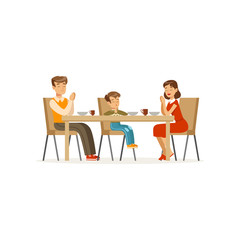 Catholic family praying before meal. Father, mother and son sitting at dining table. Cartoon character of man, woman and boy. Religious people. Flat vector design