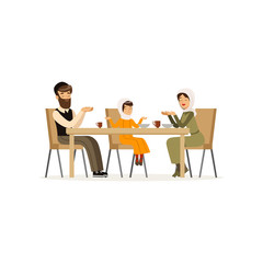 Muslim family sitting at dinner table. Mother, bearded father and their daughter. Cartoon character of man, woman and little girl. Religious people. Flat vector design