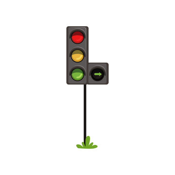 Traffic lights with additional section right turn . Road semaphore with colorful lamps red, yellow and green. Flat vector design for infographic or mobile app