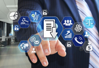 The businessman chooses Document management system, DSM on the virtual screen in social network connection.
