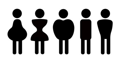 Different body shapes, physique frames and types of figures - pear, hourglass, apple, rectangular, triangle. Vector illustration of simple pictograms.