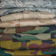 Stack of camouflage clothing