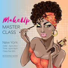 Makeup master class banner with beautiful brown skin tone woman, modern pin up style. Makeup brushes, cosmetics set hand drawn vector illustration background