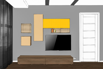 3D illustration. TV stand and entertainment center with appliances and decors. Modern living room interior. Modern creative TV furniture.