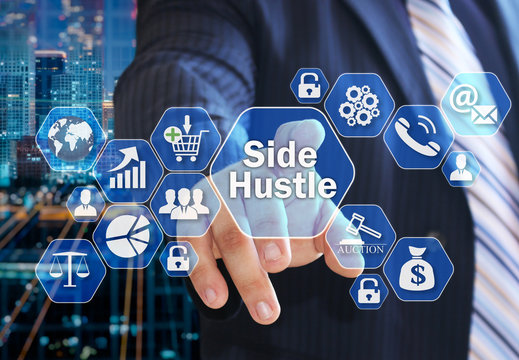 The businessman chooses the Side Hustle  on the virtual screen in the business network connection.