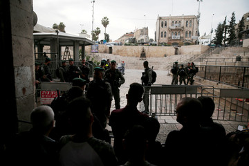 Israeli security forces block Damascus Gate, one of the entrances to Jerusalem's Old City, after a stabbing attack in which an Israeli was wounded, Israeli police said, inside Jerusalem's Old City