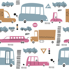 Seamless pattern with cute cars. Cartoon cars, road sign,zebra crossing vector illustration.