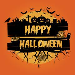 Happy halloween. Halloween background. Halloween vector background with pumpkins, flying bats, trees, spider, crow and full moon.