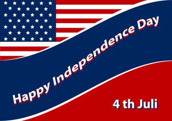 Unabhängigkeitstaghintergrund mit amerikanischer Flagge. EPS 10 Vektordatei
