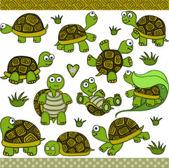 Cute turtle set digital elements