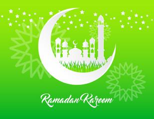 beautiful ramadan kareem background with paper art style