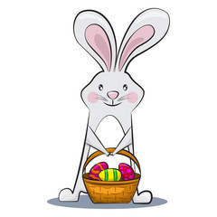 Сute Easter bunny is holding egg basket with patterns. Vector cartoon rabbit character for a holiday. Illustration isolated on a white background.