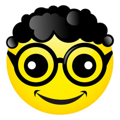 logo, smiley with glasses, clever cartoon cheerful good sign, bubble, vector