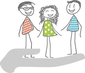Des hommes et femmes dans une main pour illustrer le soutien, l'aide, l'assistance à des personnes dans le besoin