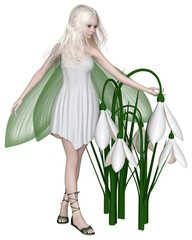 Snowdrop Fairy Standing by Winter Flowers - fantasy illustration