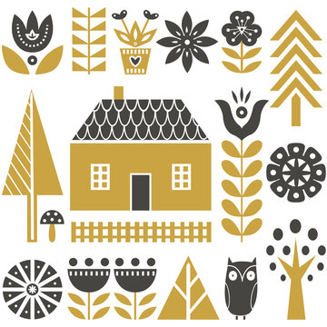 Scandinavian folk art seamless vector pattern with flowers, trees, mushrooms, owl, houses and rural scenery in simple style