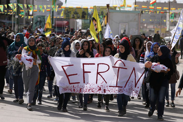 Kurdish demonstrators protest against the deployment of Turkish forces in Afrin