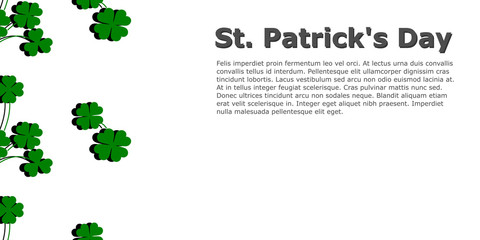 Vector in flat style design for Saint Patrick's day. Shamrock with shadow on transparent background with free space for your text.