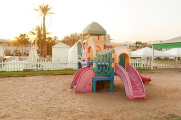 Children plastic town playground in rhe tropical