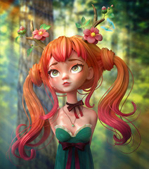 3d cartoon character red-haired girl in a green dress with hands behind her back walks through the forest. Portrait of an elegant, long-haired woman with two tails wearing deer horns. 3d rendering.