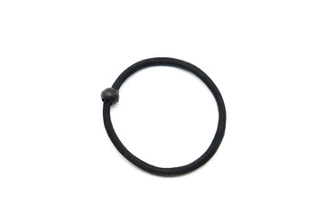 Black rubber band isolated on white background