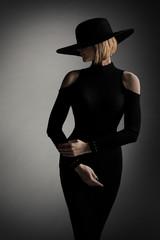 Fashion Model Black Dress Wide Brim Hat, Elegant Woman Retro Beauty Portrait, Lady Studio Shoot
