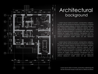Architectural vector background. White drawing on a black background. Brochure. Drawing of a house. Disposition of the house. Banner with space for writing in the architectural style