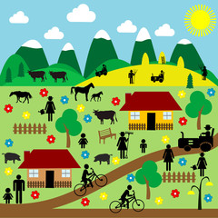 Countryside scene with pictograms