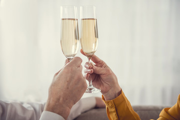 Cheers. Close up of male and female hands holding tumblers with sparkling wine