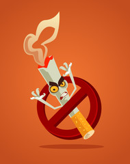 No smoking sign and angry bad danger cigarette monster character mascot in restrict red circle. Tobacco smoke habit addiction dependence problem concept. Vector flat cartoon illustration