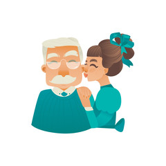 Cartoon adult daughter kissing elderly grandfather in cheek. Happy family people, young woman and elderly man. Smiling male female characters, parenting concept. Vector isolated illustration