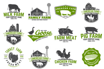 American Farm Badge or Label. Vector illustration.