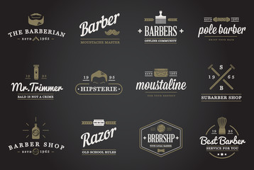 Set of Raster Barber Shop Elements and Shave Shop Icons Illustration can be used as Logo or Icon in premium quality