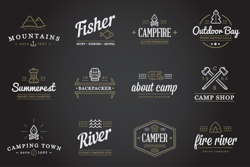 Set of Raster Camping Camp Elements and Outdoor Activity Icons Illustration can be used as Logo or Icon in premium quality