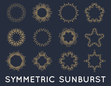 Sun burst vintage shapes collection set of sun ray frames retro raster design elements
