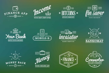 Set of Raster Finance Elements and Money Business as Illustration can be used as Logo or Icon in premium quality