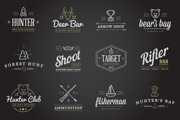 Set of Raster Hunting Camping Sport Elements Illustration can be used as Logo or Icon in premium quality