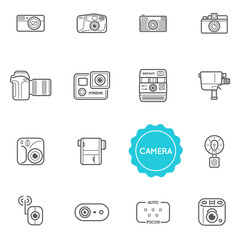 Set of Camera Photo Raster Illustration Elements can be used as Logo or Icon in premium quality