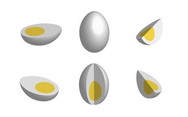 Set of eggs in 3D, vector