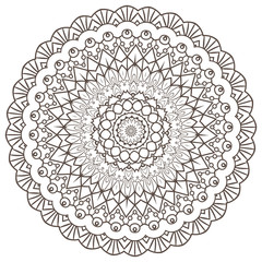 Ethnic Fractal Mandala Raster Meditation looks like Snowflake or Maya Aztec Pattern or Flower Isolated on White