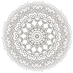 Ethnic Fractal Mandala Raster Meditation looks like Snowflake or Maya Aztec Pattern or Flower too Isolated on White